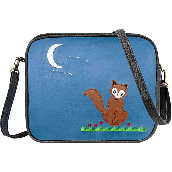Shop PETA approved vegan brand LAVISHY's fox under the moon applique vegan/faux leather cross body bag / toiletry bag. Wholesale available at http://www.lavishy.com/lookbook/lavishy-adora-collection-look-book.htm