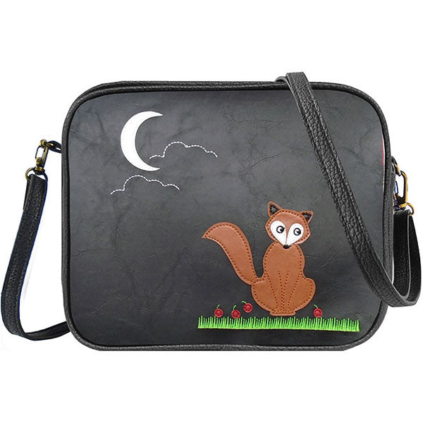 Shop vegan brand LAVISHY's fox under the moon applique vegan/faux leather cross body bag / toiletry bag. Wholesale available at http://www.lavishy.com/lookbook/lavishy-adora-collection-look-book.htm