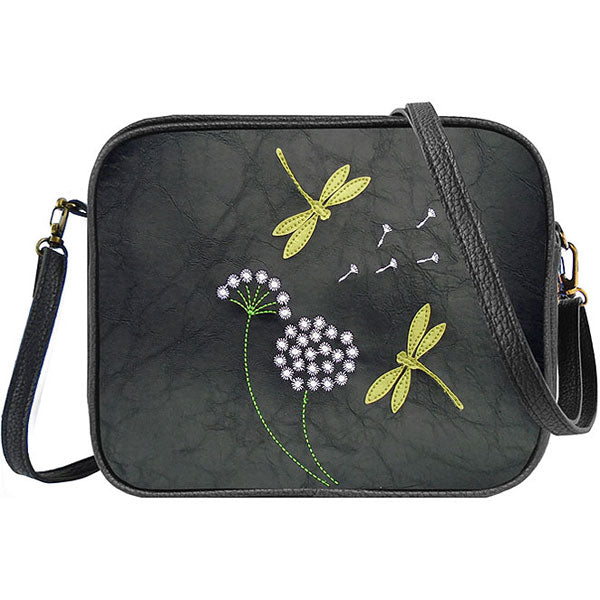 Shop vegan brand LAVISHY's dragonfly & dandelion applique vegan/faux leather cross body bag / toiletry bag. Wholesale available at http://www.lavishy.com/lookbook/lavishy-adora-collection-look-book.htm