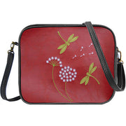Shop vegan brand LAVISHY's dragonfly & dandelion applique vegan/faux leather cross body bag / toiletry bag. Wholesale available at https://www.lavishy.com/lookbook/lavishy-adora-collection-look-book.htm