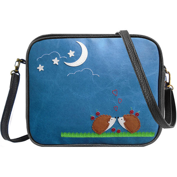 Shop vegan brand LAVISHY's hedgehog lovers under the moon applique vegan/faux leather cross body bag / toiletry bag. Wholesale available at http://www.lavishy.com/lookbook/lavishy-adora-collection-look-book.htm