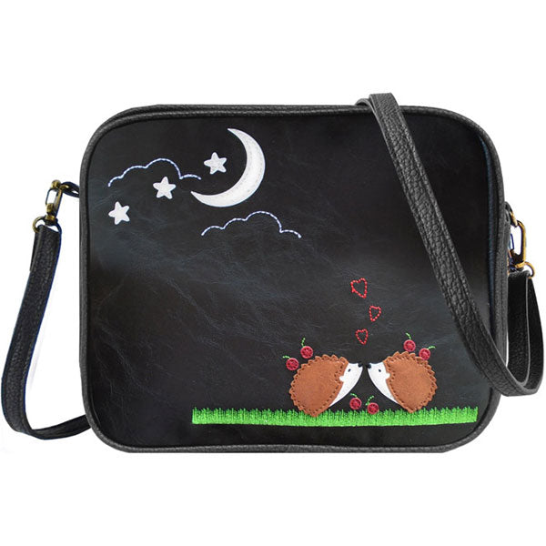 Shop PETA approved vegan brand LAVISHY's hedgehog lovers under the moon applique vegan/faux leather cross body bag / toiletry bag. Wholesale available at http://www.lavishy.com/lookbook/lavishy-adora-collection-look-book.htm