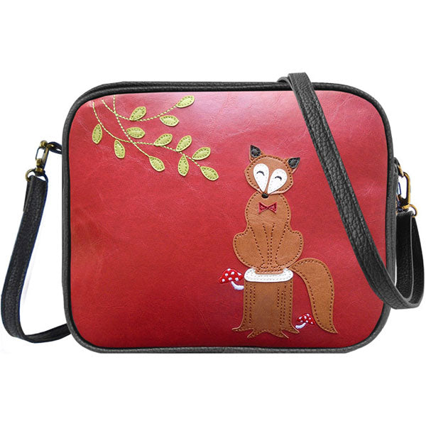 Shop vegan brand LAVISHY's fox on tree stump applique vegan/faux leather cross body bag / toiletry bag. Wholesale available at https://www.lavishy.com/lookbook/lavishy-adora-collection-look-book.htm