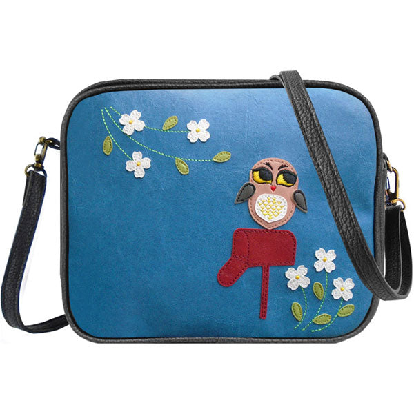 Shop PETA approved vegan brand LAVISHY's big bright eyed owl on mailbox applique vegan/faux leather cross body bag / toiletry bag. Wholesale available at http://www.lavishy.com/lookbook/lavishy-adora-collection-look-book.htm