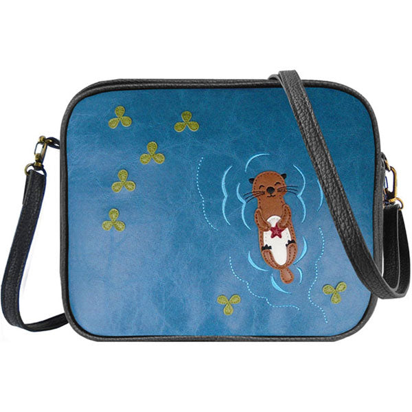 Shop PETA approved vegan brand LAVISHY's sea otter with starfish applique vegan/faux leather cross body bag / toiletry bag. Wholesale available at http://www.lavishy.com/lookbook/lavishy-adora-collection-look-book.htm