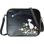 Shop vegan brand LAVISHY's cat with flower under shoting star applique vegan/faux leather cross body bag / toiletry bag. Wholesale available at http://www.lavishy.com/lookbook/lavishy-adora-collection-look-book.htm
