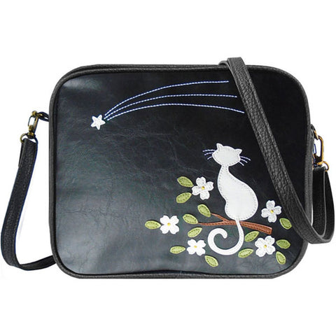 Shop PETA approved vegan brand LAVISHY's cat with flower under shoting star applique vegan/faux leather cross body bag / toiletry bag. Wholesale available at http://www.lavishy.com/lookbook/lavishy-adora-collection-look-book.htm