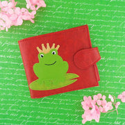 Online shopping for vegan brand LAVISHY's fun & Eco-friendly frog prince charming applique vegan medium bifold wallet. Great for everyday use, cool gift for family & friends. Wholesale at www.lavishy.com for gift shops, clothing & fashion accessories boutiques, book stores in Canada, USA & worldwide since 2001.