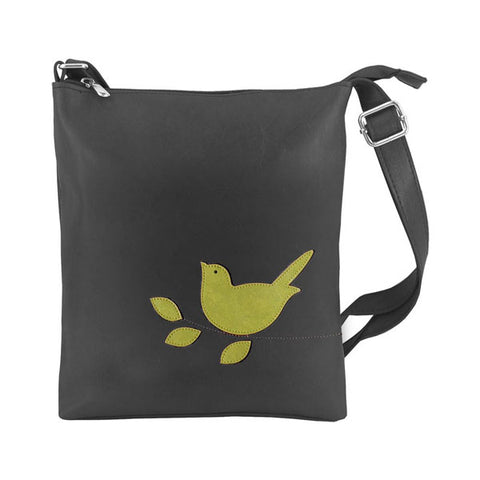 Shop vegan brand LAVISHY's fun & playful applique vegan/faux leather small messenger/cross body bag with adorable bird applique. A great gift for you or your friends & family. Wholesale available at www.lavishy.com with many unique & fun fashion accessories.