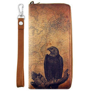 Online Online shopping for LAVISHYping for vegan brand LAVISHY's cool wristlet large wallet with vintage style eagle illustration on old map background print. Great for everyday use & travel. A cool gift for family & friends. Wholesale at www.lavishy.com for gift Online shopping for LAVISHYs, fashion accessories & clothing boutiques, book stores since 2001.