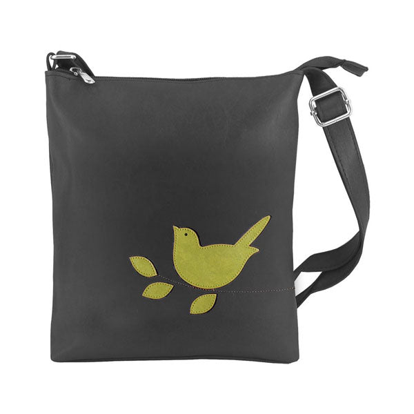 Shop PETA approved vegan brand LAVISHY's fun & playful applique vegan/faux leather small messenger/cross body bag with adorable bird applique. A great gift for you or your friends & family. Wholesale available at www.lavishy.com with many unique & fun fashion accessories.
