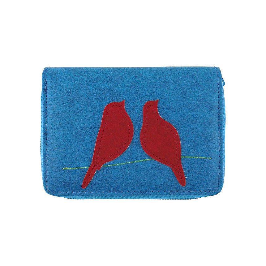 Shop vegan brand LAVISHY's love birds applique vegan/faux leather cardholder. Wholesale available at https://www.lavishy.com/lookbook/lavishy-adora-collection-look-book.htm