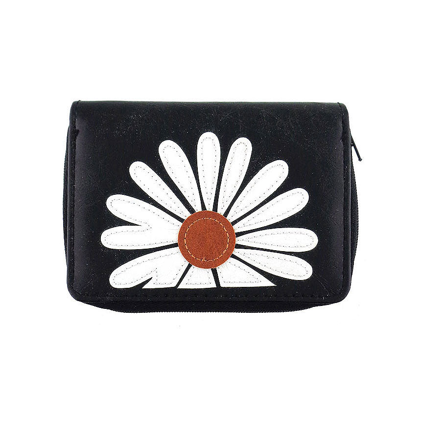 Shop PETA approved vegan brand LAVISHY's daisy applique vegan/faux leather cardholder. Wholesale available at http://www.lavishy.com/lookbook/lavishy-adora-collection-look-book.htm