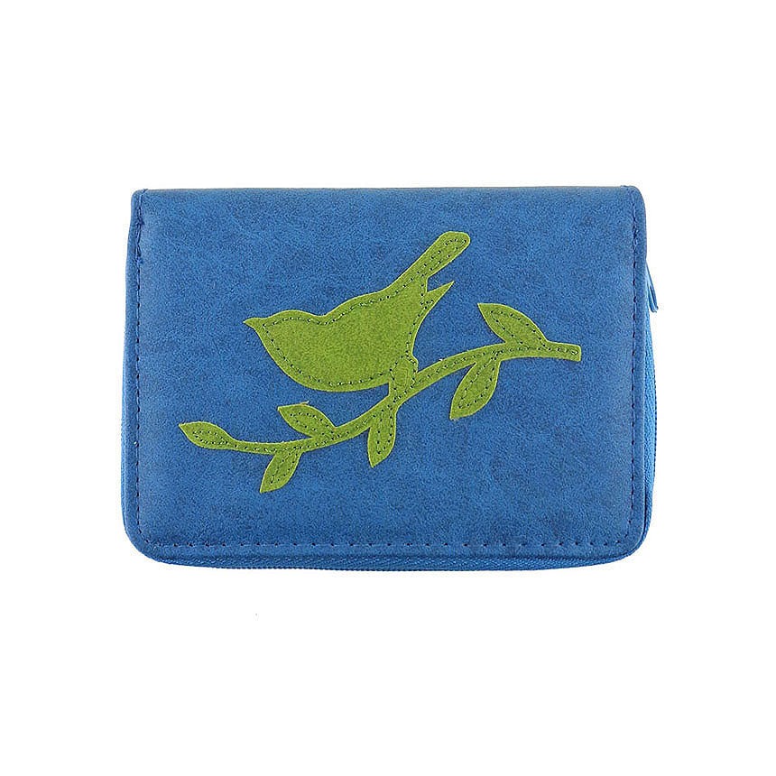 Shop vegan brand LAVISHY's sparrow bird applique vegan/faux leather cardholder. Wholesale available at https://www.lavishy.com/lookbook/lavishy-adora-collection-look-book.htm