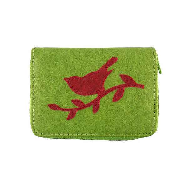 Shop PETA approved vegan brand LAVISHY's sparrow bird applique vegan/faux leather cardholder. Wholesale available at http://www.lavishy.com/lookbook/lavishy-adora-collection-look-book.htm