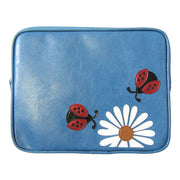 Online shopping for vegan brand LAVISHY's fun & playful applique vegan/faux leather tablet sleeve with adorable daisy & ladybugs applique. A great gift for you or your friends & family. Wholesale available at www.lavishy.com with many unique & fun fashion accessories.