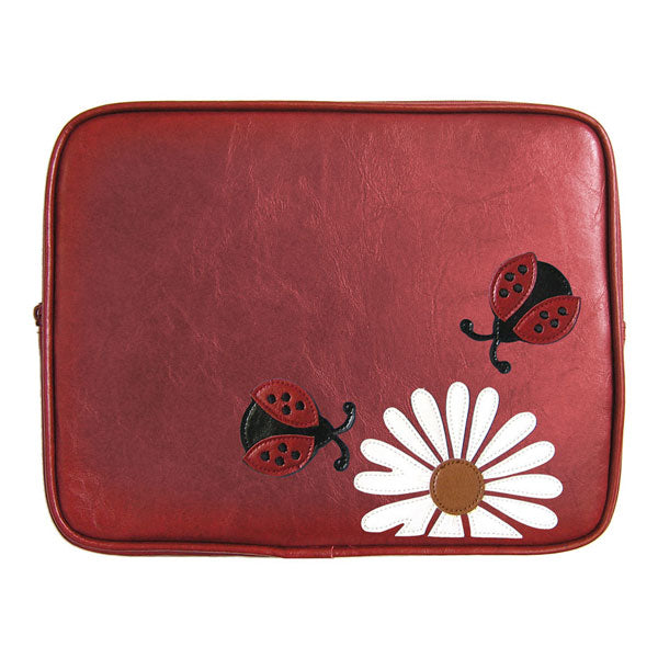 Shop vegan brand LAVISHY's adorable vegan/faux leather tablet/ipad sleeve with cute ladybug & daisy flower applique. Wholesale available at http://www.lavishy.com/lookbook/lavishy-adora-collection-look-book.htm