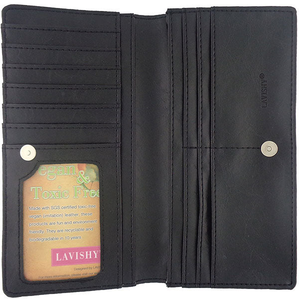Online shopping for vegan brand LAVISHY's fun & Eco-friendly cruelty free horse applique vegan large wallet. Great for everyday use, cool gift for family & friends. Wholesale at www.lavishy.com for gift shops, clothing & fashion accessories boutiques, book stores in Canada, USA & worldwide since 2001.
