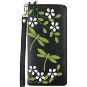 Online shopping for vegan brand LAVISHY's Eco-friendly cruelty free dragonfly applique vegan large wristlet wallet. Great for everyday use & travel, cool gift for family & friends. Wholesale at www.lavishy.com for gift shops, clothing & fashion accessories boutiques, book stores in Canada, USA & worldwide since 2001.