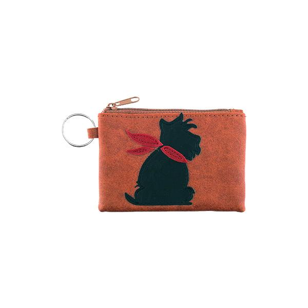 Online shopping for vegan brand LAVISHY's playful applique vegan key ring coin purse with adorable Scottie/Westie dog applique. Great for everyday use, fun gift for family & friends. Wholesale at www.lavishy.com for gift shop, clothing & fashion accessories boutique, book store in Canada, USA & worldwide since 2001.