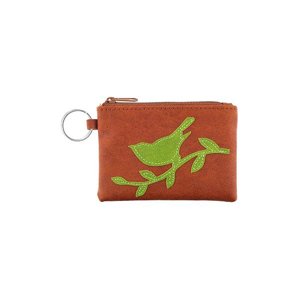 Online shopping for vegan brand LAVISHY's playful applique vegan key ring coin purse with adorable sparrow bird applique. Great for everyday use, fun gift for family & friends. Wholesale at www.lavishy.com for gift shop, clothing & fashion accessories boutique, book store in Canada, USA & worldwide since 2001.