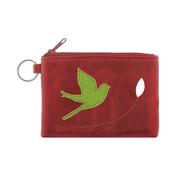 Online shopping for vegan brand LAVISHY's playful applique vegan key ring coin purse with adorable bird applique. Great for everyday use, fun gift for family & friends. Wholesale at www.lavishy.com for gift shop, clothing & fashion accessories boutique, book store in Canada, USA & worldwide since 2001.