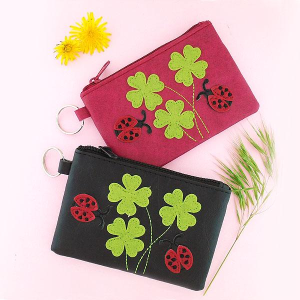 Online shopping for vegan brand LAVISHY's playful applique vegan key ring coin purse with adorable ladybug & clover applique. Great for everyday use, fun gift for family & friends. Wholesale at www.lavishy.com for gift shop, clothing & fashion accessories boutique, book store in Canada, USA & worldwide since 2001.