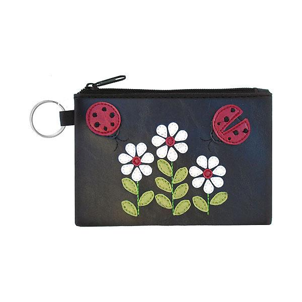 Online shopping for vegan brand LAVISHY's playful applique vegan key ring coin purse with adorable ladybug & daisy applique. Great for everyday use, fun gift for family & friends. Wholesale at www.lavishy.com for gift shop, clothing & fashion accessories boutique, book store in Canada, USA & worldwide since 2001.