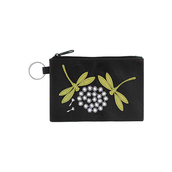 Online shopping for vegan brand LAVISHY's playful applique vegan key ring coin purse with adorable dragonfly applique. Great for everyday use, fun gift for family & friends. Wholesale at www.lavishy.com for gift shop, clothing & fashion accessories boutique, book store in Canada, USA & worldwide since 2001.