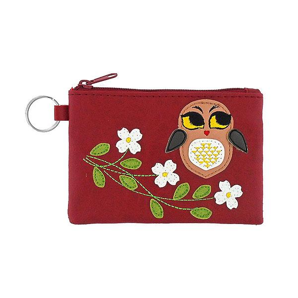 Online shopping for vegan brand LAVISHY's playful applique vegan key ring coin purse with adorable owl applique. Great for everyday use, fun gift for family & friends. Wholesale at www.lavishy.com for gift shop, clothing & fashion accessories boutique, book store in Canada, USA & worldwide since 2001.