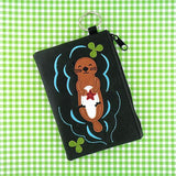 Online shopping for vegan brand LAVISHY's playful applique vegan key ring coin purse with adorable sea otter applique. Great for everyday use, fun gift for family & friends. Wholesale at www.lavishy.com for gift shop, clothing & fashion accessories boutique, book store in Canada, USA & worldwide since 2001.