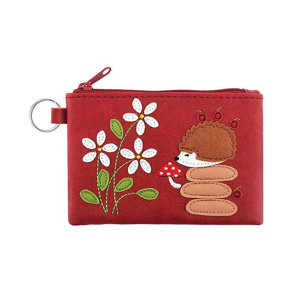 Online shopping for vegan brand LAVISHY's playful applique vegan key ring coin purse with adorable hedgehog applique. Great for everyday use, fun gift for family & friends. Wholesale at www.lavishy.com for gift shop, clothing & fashion accessories boutique, book store in Canada, USA & worldwide since 2001.