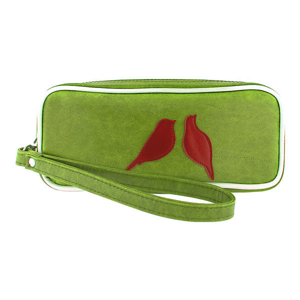Shop vegan brand LAVISHY's love birds applique vegan/faux leather makeup pouch/pencil case. Wholesale available at http://www.lavishy.com/lookbook/lavishy-adora-collection-look-book.htm