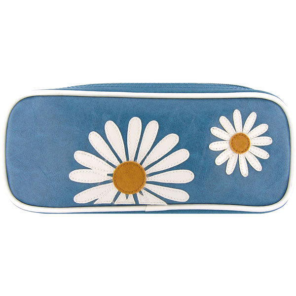Shop PETA approved vegan brand LAVISHY's daisy flower applique vegan/faux leather makeup pouch/pencil case. Wholesale available at http://www.lavishy.com/lookbook/lavishy-adora-collection-look-book.htm