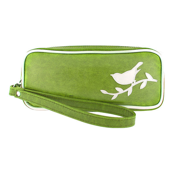 Shop vegan brand LAVISHY's sparrow bird applique vegan/faux leather makeup pouch/pencil case. Wholesale available at http://www.lavishy.com/lookbook/lavishy-adora-collection-look-book.htm