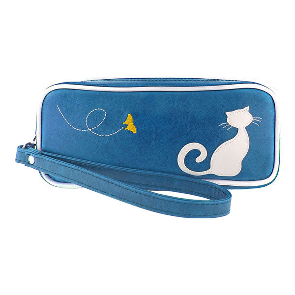 Shop PETA approved vegan brand LAVISHY's cat applique vegan/faux leather makeup pouch/pencil case. Wholesale available at http://www.lavishy.com/lookbook/lavishy-adora-collection-look-book.htm