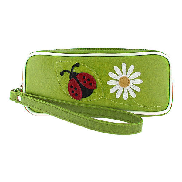 Shop vegan brand LAVISHY's ladybug & daisy flower applique vegan/faux leather makeup pouch/pencil case. Wholesale available at http://www.lavishy.com/lookbook/lavishy-adora-collection-look-book.htm