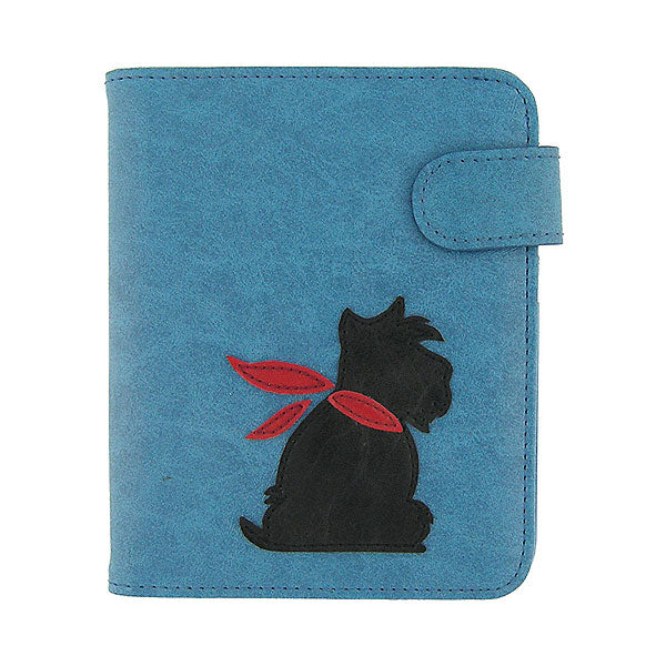 Shop PETA approved vegan brand LAVISHY's Scottish Terrier Dog applique vegan/faux leather passport/travel wallet. Wholesale available at http://www.lavishy.com/lookbook/lavishy-adora-collection-look-book.htm