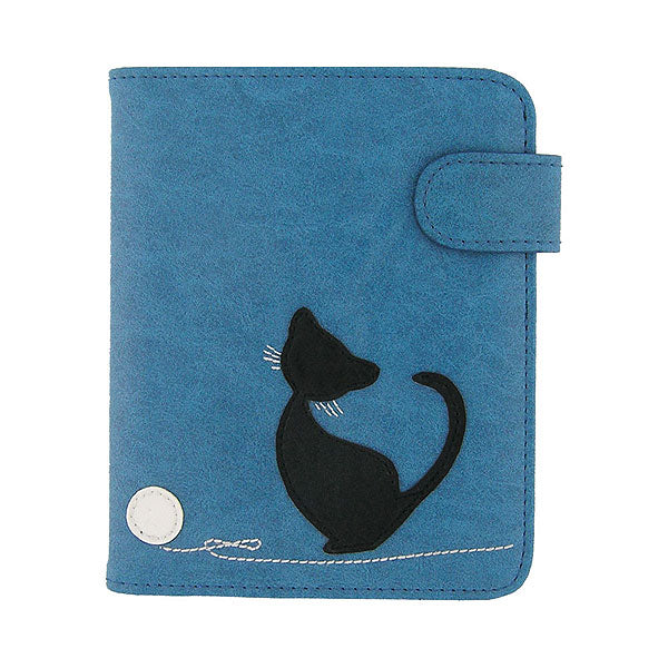 Shop PETA approved vegan brand LAVISHY's cat with yarn ball applique vegan/faux leather passport/travel wallet. Wholesale available at http://www.lavishy.com/lookbook/lavishy-adora-collection-look-book.htm