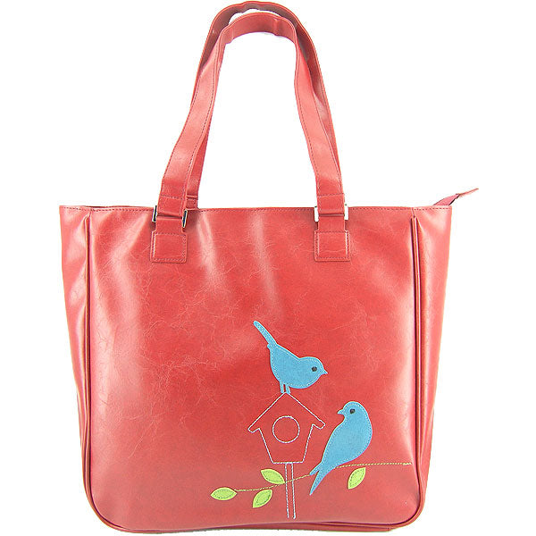 Shop PETA approved vegan brand LAVISHY's love birds applique vegan/faux leather tote bag. Wholesale available at http://www.lavishy.com/lookbook/lavishy-adora-collection-look-book.htm