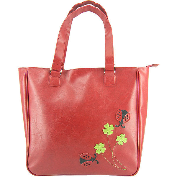 Shop PETA approved vegan brand LAVISHY's ladybug & clover applique vegan/faux leather tote bag. Wholesale available at http://www.lavishy.com/lookbook/lavishy-adora-collection-look-book.htm