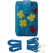 Shop PETA approved vegan brand LAVISHY's ladybug & four leaf clover applique vegan/faux leather cell phone wallet/bag. Wholesale available at http://www.lavishy.com/lookbook/lavishy-adora-collection-look-book.htm
