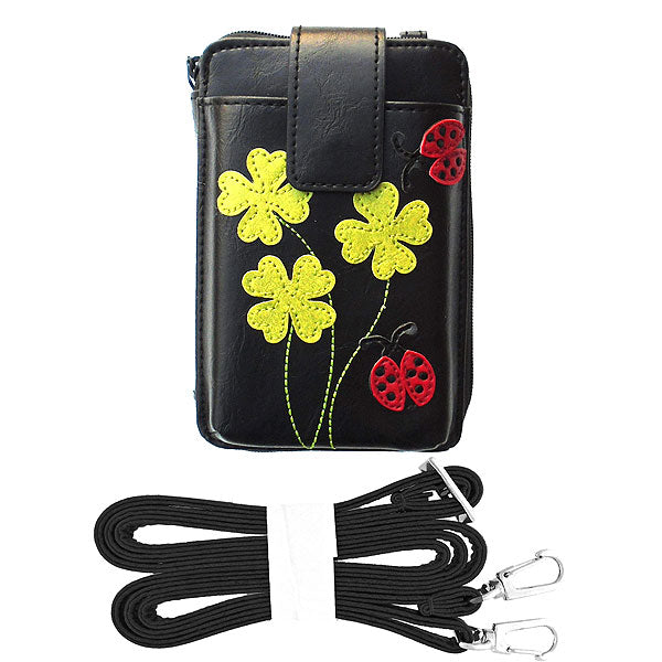 Shop vegan brand LAVISHY's ladybug & four leaf clover applique vegan/faux leather cell phone wallet/bag. Wholesale available at http://www.lavishy.com/lookbook/lavishy-adora-collection-look-book.htm