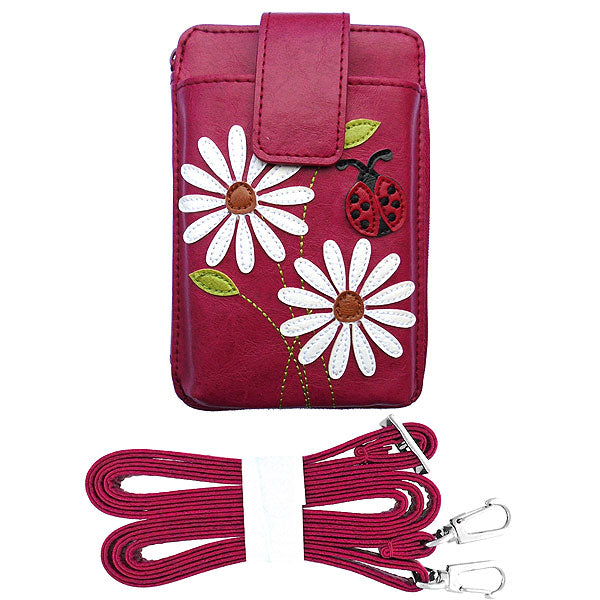 Shop vegan brand LAVISHY's daisy flower & ladybug applique vegan/faux leather cell phone wallet/bag. Wholesale available at http://www.lavishy.com/lookbook/lavishy-adora-collection-look-book.htm
