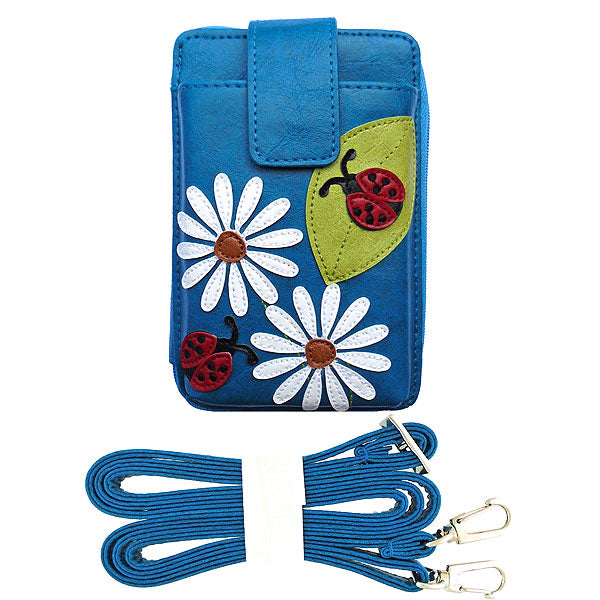 Online shopping for vegan brand LAVISHY's fun & playful applique vegan/faux leather cell phone bag/wallet with adorable daisy flower & ladybug applique. It's Eco-friendly, ethically made, cruelty free. A great gift for you or your friends & family. Wholesale available at www.lavishy.com with many unique & fun fashion accessories.