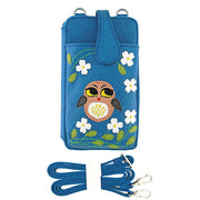 Online shopping for vegan brand LAVISHY's fun & playful applique vegan/faux leather cell phone bag/wallet with adorable bright eyed owl applique. It's Eco-friendly, ethically made, cruelty free. A great gift for you or your friends & family. Wholesale available at www.lavishy.com with many unique & fun fashion accessories.