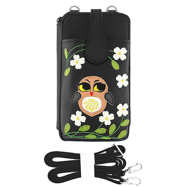 Shop PETA approved vegan brand LAVISHY's bright eyed owl applique vegan/faux leather cell phone wallet/bag. Wholesale available at http://www.lavishy.com/lookbook/lavishy-adora-collection-look-book.htm