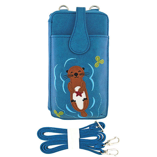 Online shopping for vegan brand LAVISHY's fun & playful applique vegan/faux leather cell phone bag/wallet with adorable sea otter with starfish applique. It's Eco-friendly, ethically made, cruelty free. A great gift for you or your friends & family. Wholesale available at www.lavishy.com with many unique & fun fashion accessories.