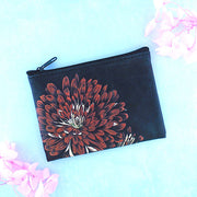 Online shopping for vegan brand LAVISHY's charming vintage style chrysanthemum flower print vegan coin purse. Great for everyday use, fun gift for family & friends. Wholesale at www.lavishy.com for gift shop, clothing & fashion accessories boutique, book store in Canada, USA & worldwide since 2001.