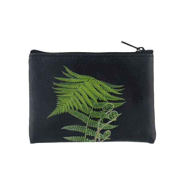 Shop PETA approved vegan brand LAVISHY's vegan/faux leather vintage style fern leaf print vegan coin purse. It's a great gift idea for you or your friends & family. Wholesale available at www.lavishy.com with many unique & fun fashion accessories.
